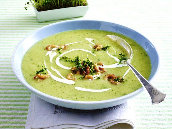 суп-крем из кресс-салата с креветками